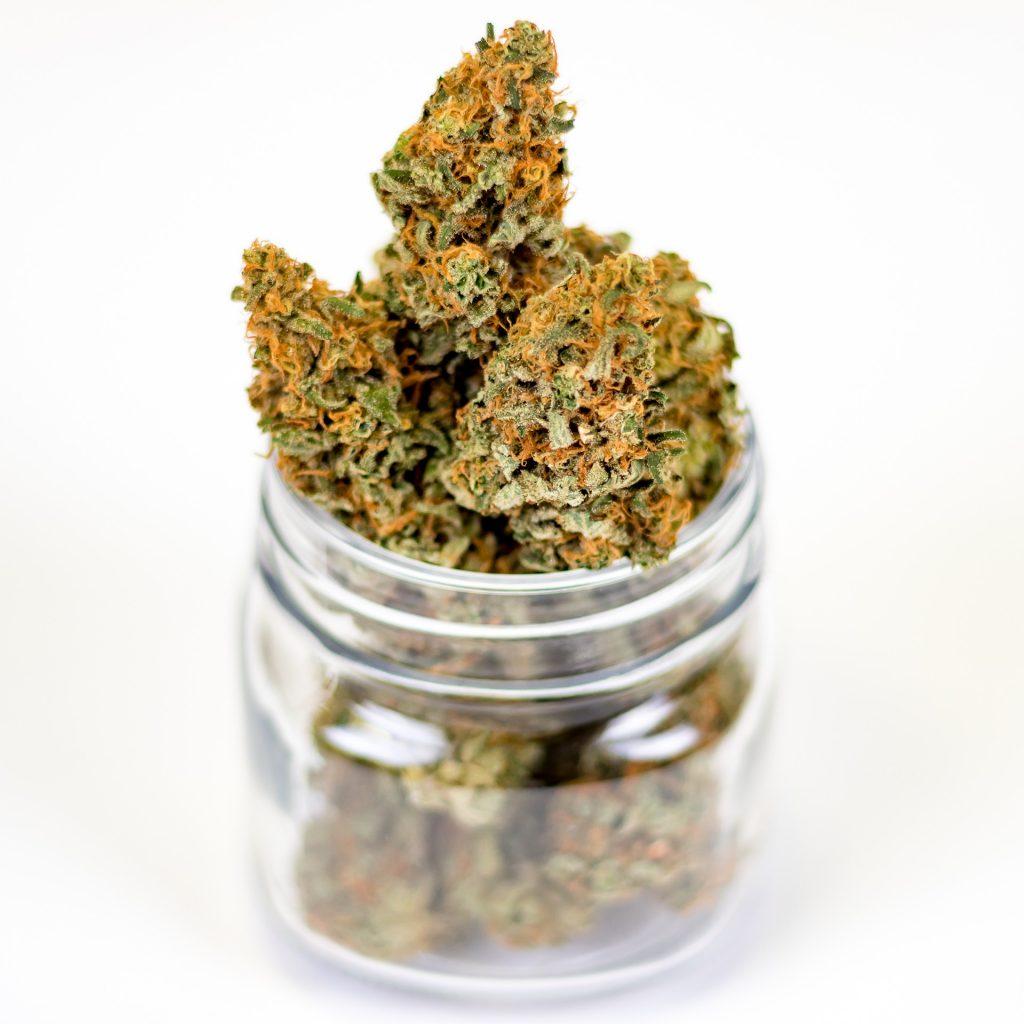 marijuana buds in glass jar