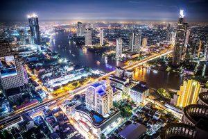 Bangkok city from above at night