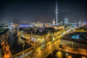 Birds eye view of European town at night