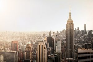NYC skyline at sunrise