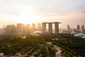 Singapore cityscape at sunset