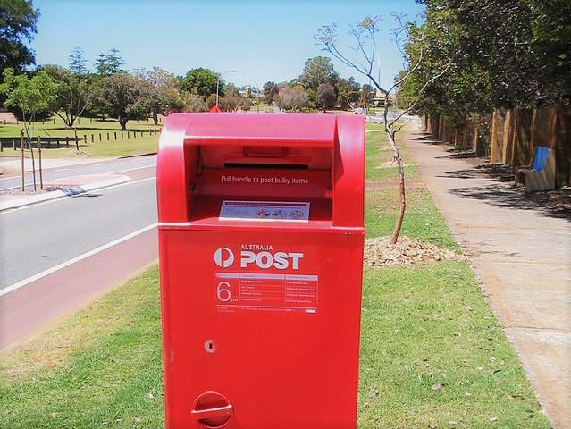 red post box on Australian street