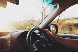 steering wheel in car