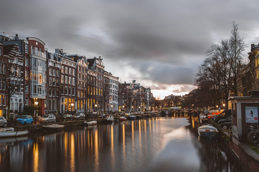 Amsterdam canal at twilight