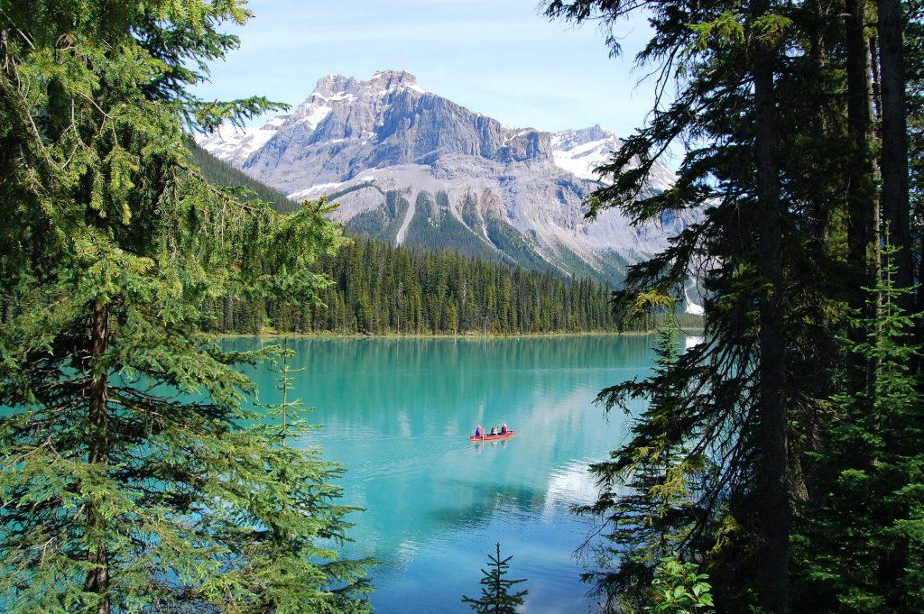 Canada - bright emerald lake with mountain backdrop