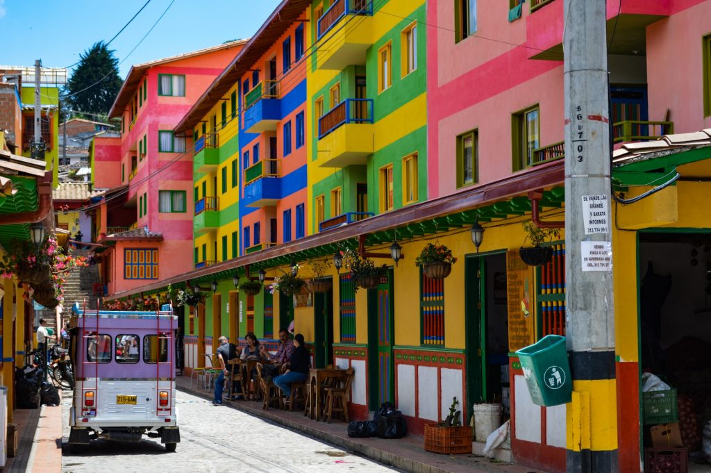 Colombia street with bright colourful houses on small lane