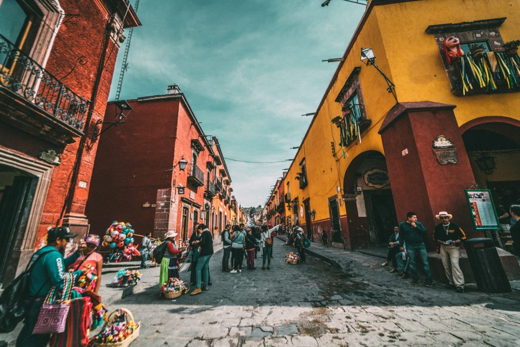 Mexican street with orange buildings