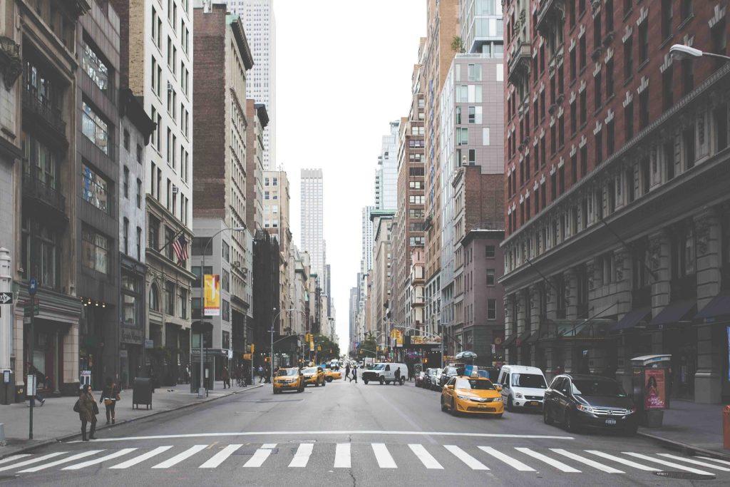 New York street and zebra crossing