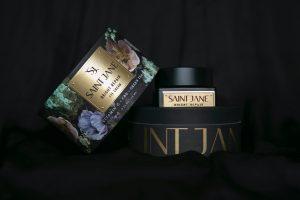 Saint Jane CBD eye cream on black background