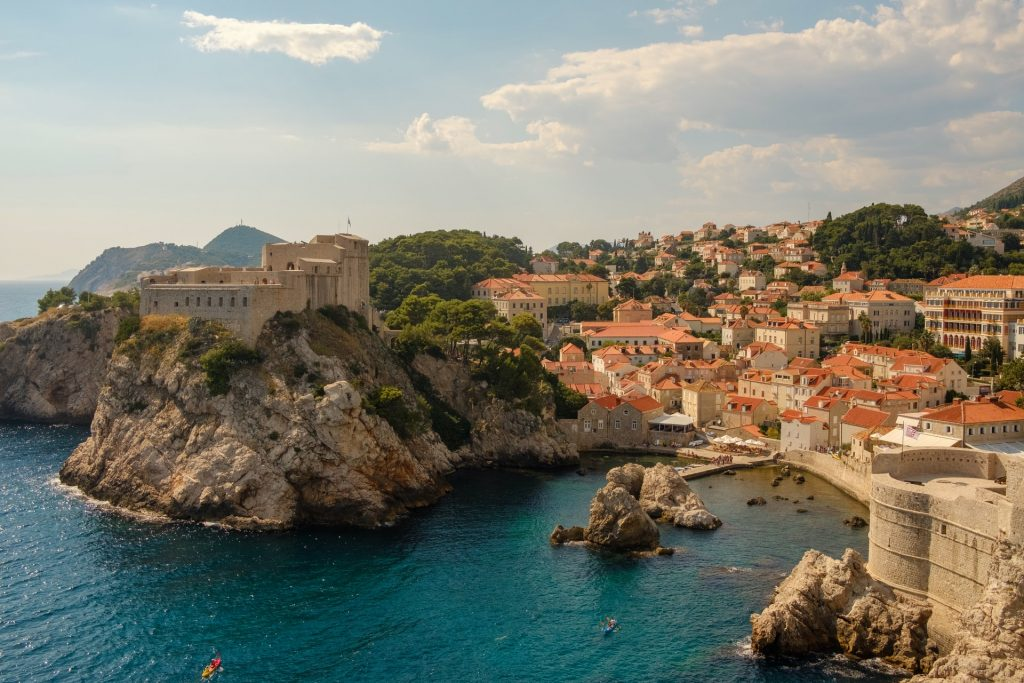 ariel view of ocean cove in Croatia