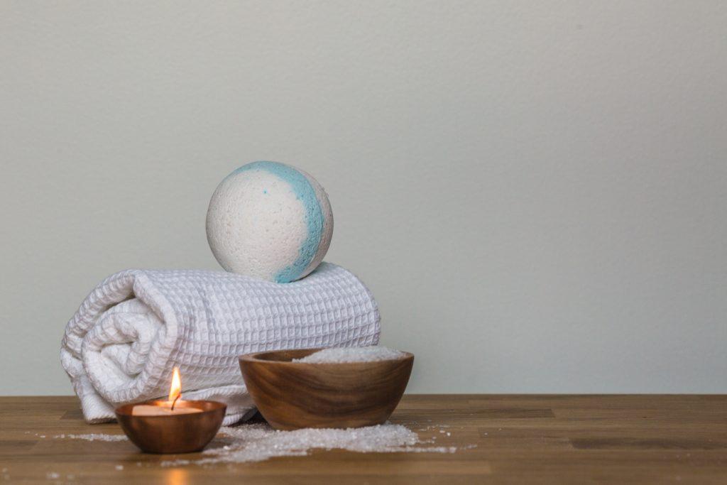 bath bomb on white towel