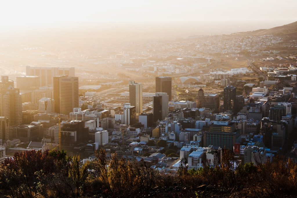 city in South Africa from above at sunset