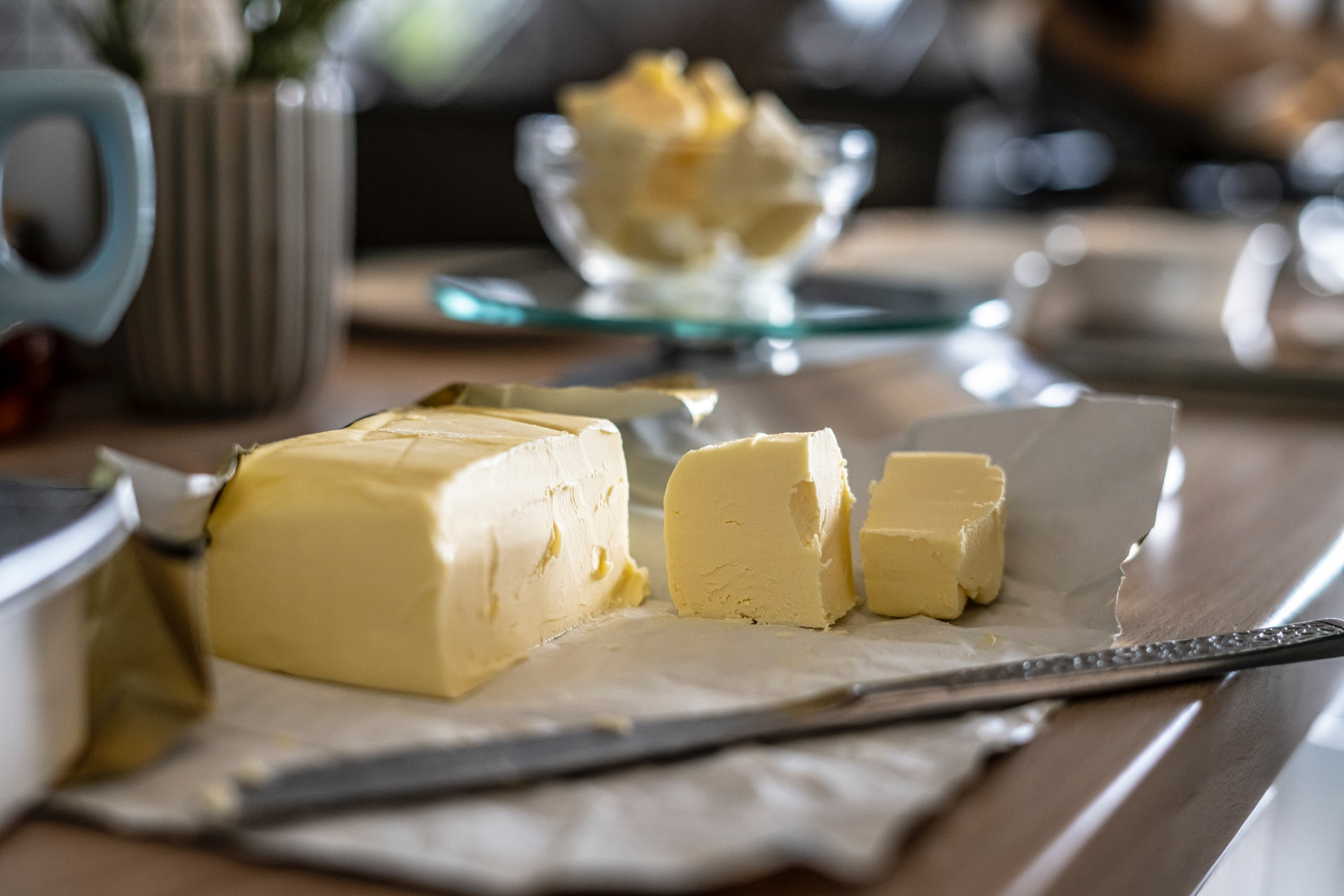 cubes of butter on kitchen table