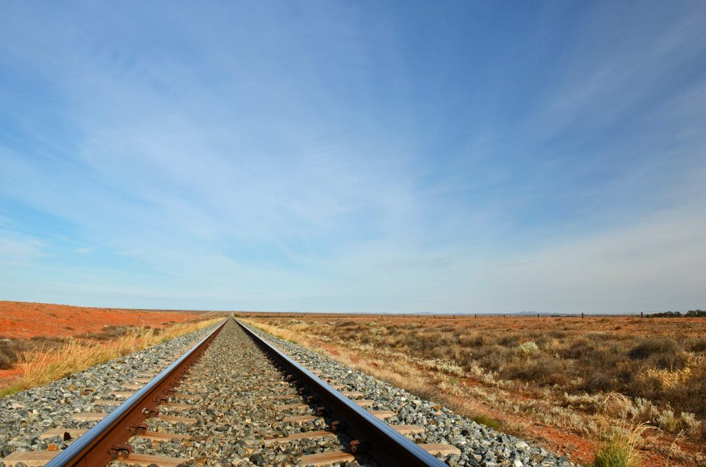 deserted railway line in Australian outback