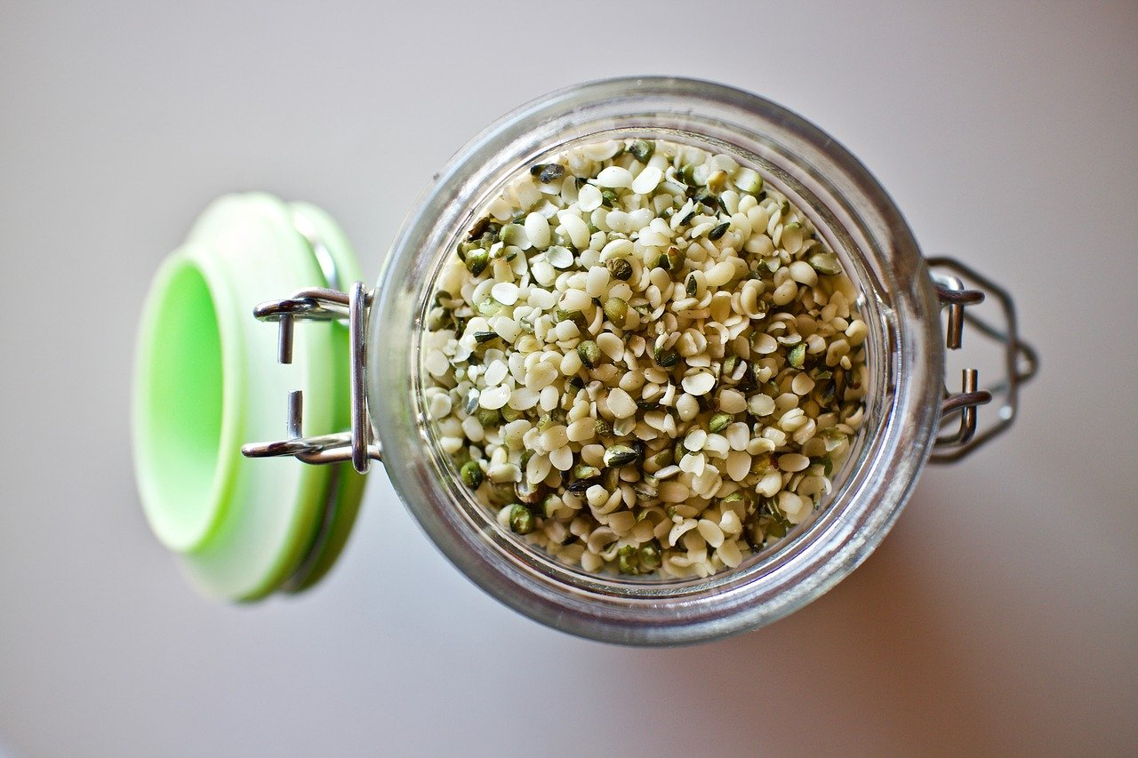hemp-seeds in glass jar