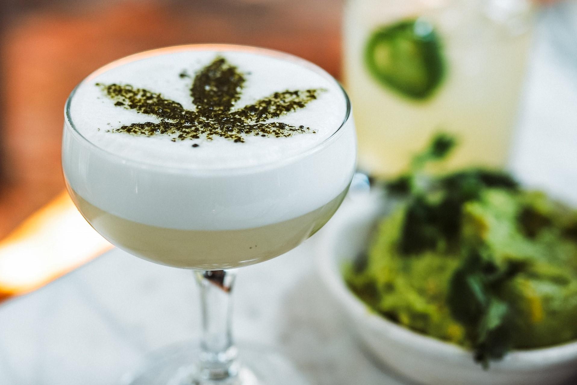 marijuana cocktail in glass