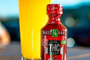 red THC bottle of cannabis drink