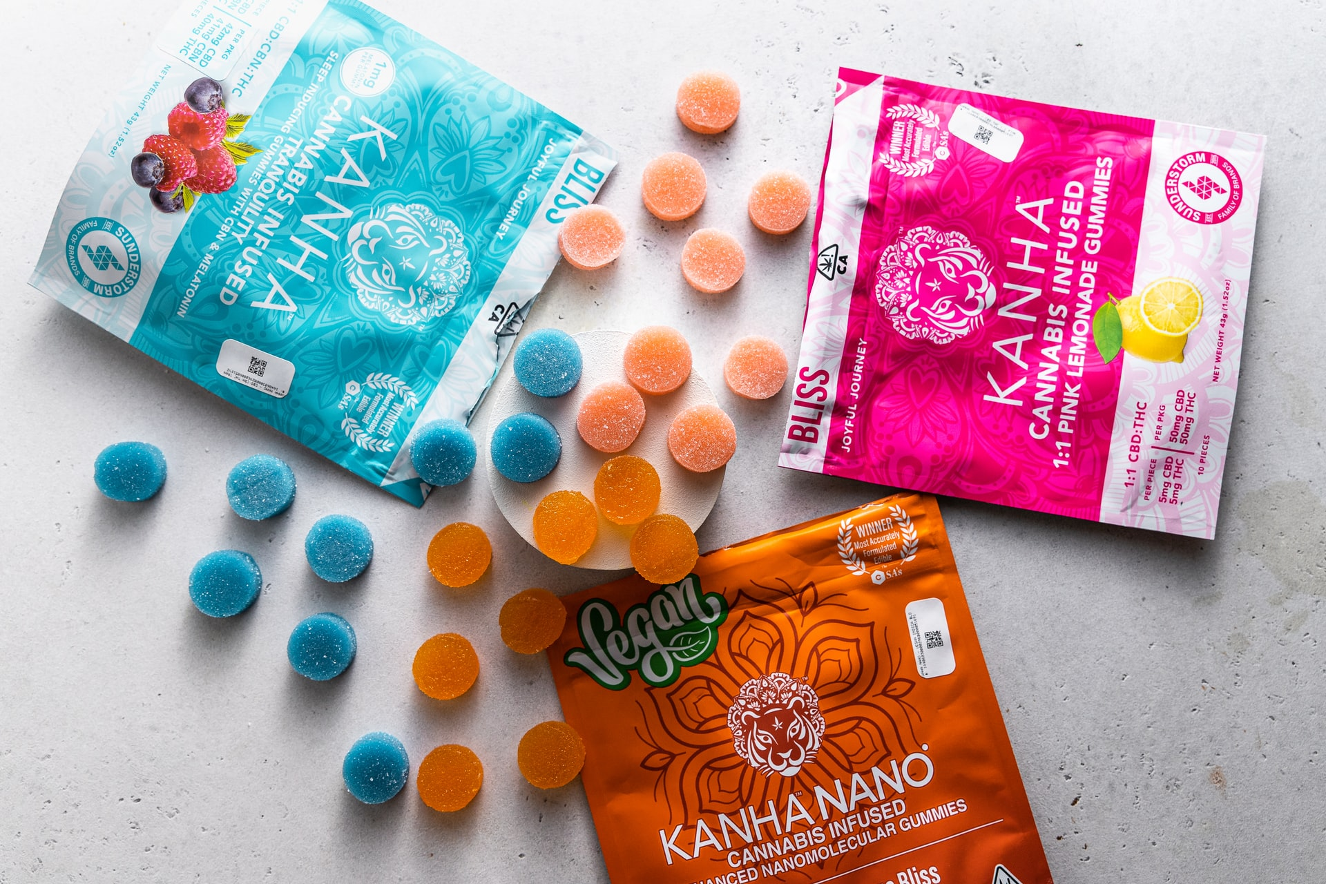 bright coloured packets of cannabis candy