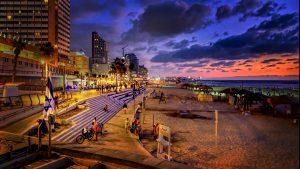 tel aviv beach at night